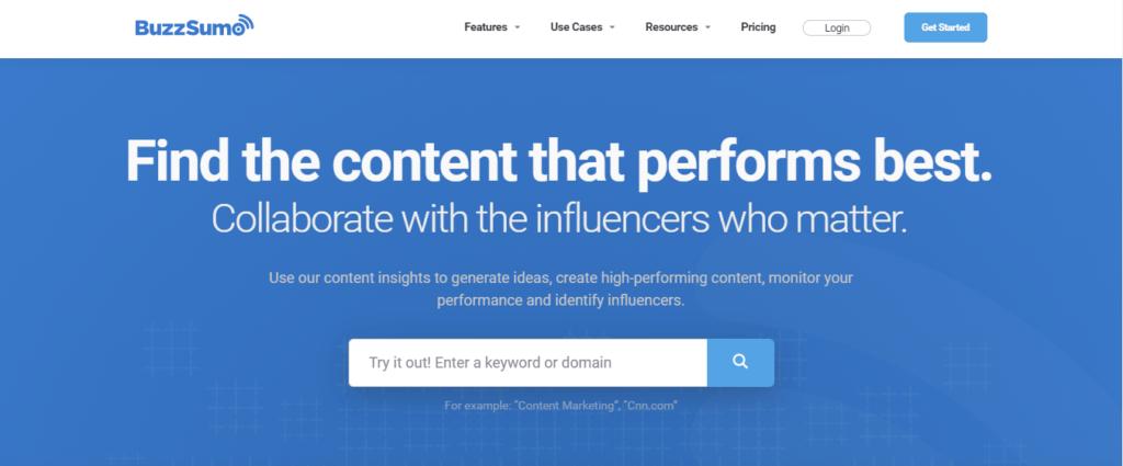 BuzzSumo- best Social Media Tool